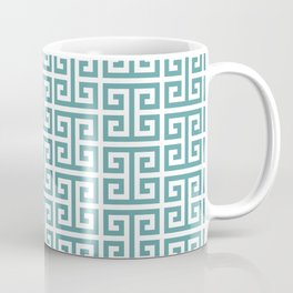 Large Cadet Blue Greek Key Pattern Coffee Mug