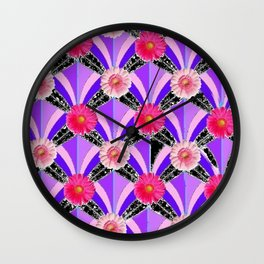 Pink & Fuchsia Purple Art Deco Floral Art Wall Clock