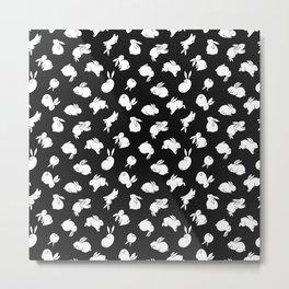 Black & White Bunny Pattern Metal Print