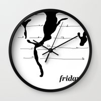friday Wall Clocks featuring Friday by Christopher Knowles