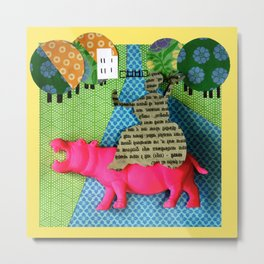 Piece of an Indian newspaper straddling a pink 3D hippo Metal Print