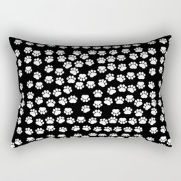Dog Paws, Traces, Paw-prints - White Black Rectangular Pillow