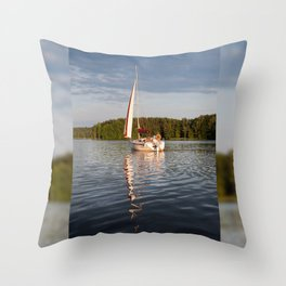 white boat sailing view Throw Pillow