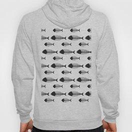 Black & White Fish Skeleton Pattern Design Big Hoody