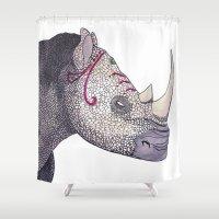 rhino Shower Curtains featuring Rhino by Raffles Bizarre