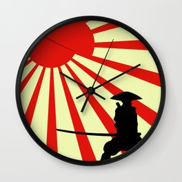 Japanese Art Sun Samurai Warrior Bushido Martial Arts Wall Clock