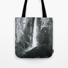 Bridalveil Falls. Yosemite California in Black and White Tote Bag