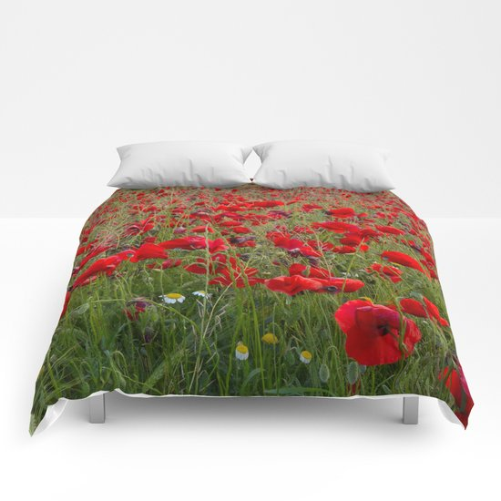 Field of poppies in the lake Comforters