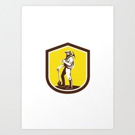 Coal Miner Carry Pick Axe Shoulder Retro Art Print
