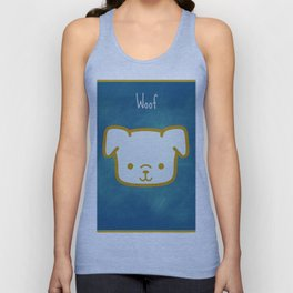 Woof - Dog Graphic - Chalkboard Inspired Unisex Tank Top
