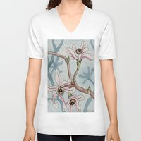 botanical V-neck T-shirts featuring Botanical Visions by Bonnie Johnson