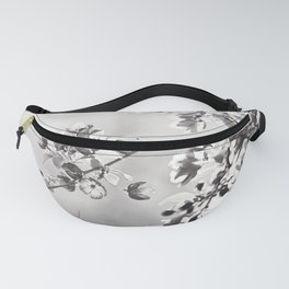Black and White Floral Photography, Grey Neutral Nature Art, Light Gray Botanical Flower Photo Fanny Pack