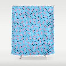 Pink Banana Peel on Baby Blue /// www.pencilmeinstationery.com Shower Curtain