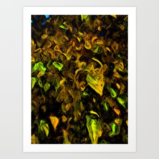 Tree with Brown, Gold and Green Leaves Art Print