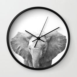 Black and White Baby Elephant Wall Clock