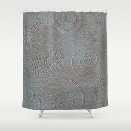 Graphic Grey Leaf and Spiral Shell Fossil Shapes Shower Curtain