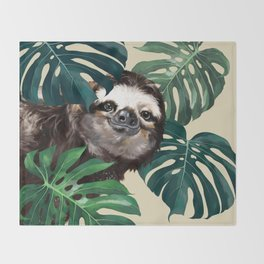 Sneaky Sloth with Monstera Throw Blanket