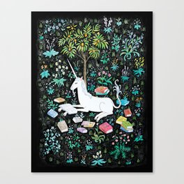 The Unicorn is Reading Canvas Print