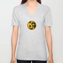 Yellow and Black Acoustic Electric Yin Yang Guitars Unisex V-Neck