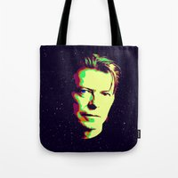 david bowie Tote Bags featuring Bowie by victorygarlic - Niki