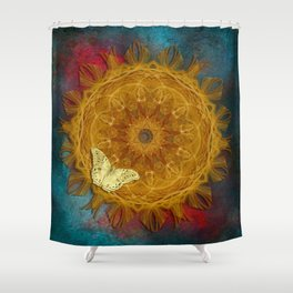 Magical fire mandala and gold butterfly Shower Curtain