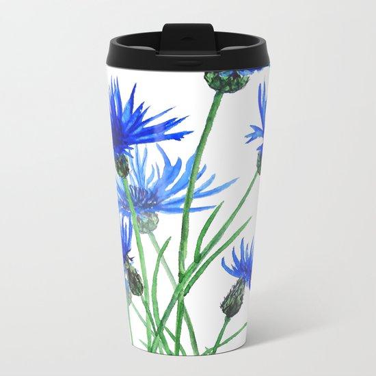 blue cornflower Metal Travel Mug