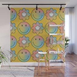 Smiley & Flower Smiley (Yellow Bg) Wall Mural