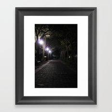 Night/Path/Cobblestone/Vintage/Walking Framed Art Print