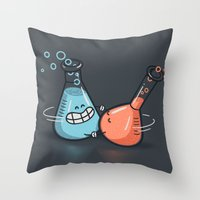 chemistry Throw Pillows featuring Chemistry by Walmazan