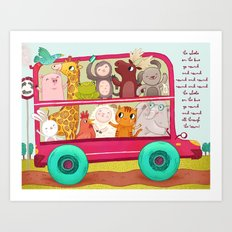 The wheels on the bus Art Print