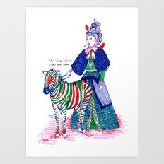 Lady and her zebra Art Print