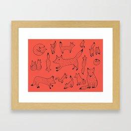 Orange foxes Framed Art Print