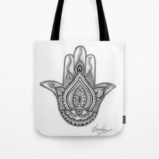 Hamsa hand Illustration (Evil Eye) protection/good luck - By Ashley Rose Standish Tote Bag