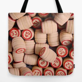 wooden crock of Russian lotto scattered Tote Bag