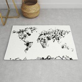 world map music black and white 1 Rug