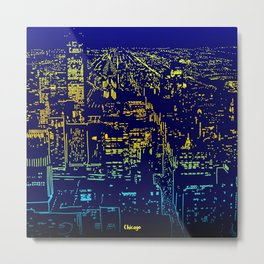 Chicago city lights at night Metal Print