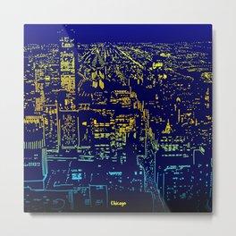 Chicago city lights at night Metal Print