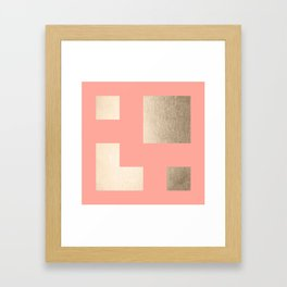 Simply Geometric White Gold Sands on Salmon Pink Framed Art Print
