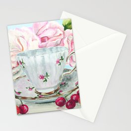 Teacup, Cherries and Pink Roses Stationery Cards