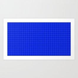 Grid Blue and White Art Print