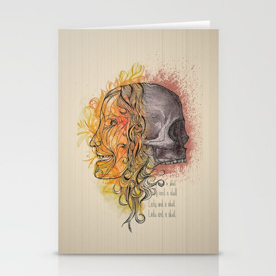 Lady and a skull Stationery Cards
