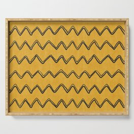 Moroccan Horizontal Stripe in Yellow Serving Tray