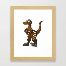 Hot Cocoa Velociraptor Framed Art Print