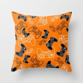 Video Games Orange Throw Pillow