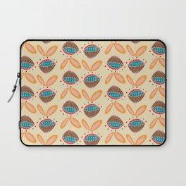 Mid Century Beige Floral Pattern Laptop Sleeve