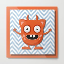 Crazy Orange Monster Metal Print