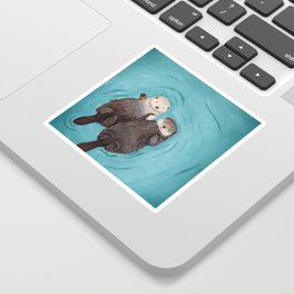 Otterly Romantic - Otters Holding Hands Sticker