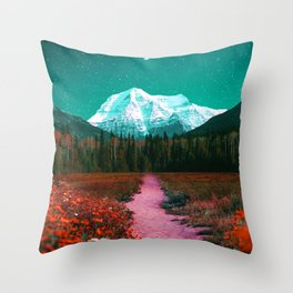 Path through the Forest and Mountains Throw Pillow