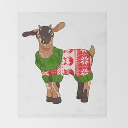 Toasted S'more Christmas Sweater Goat Throw Blanket