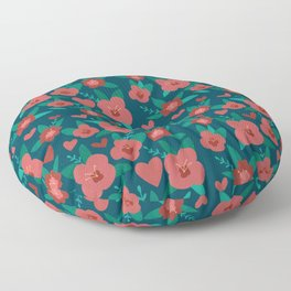 Valentine's Day Pink and Green Garden Floor Pillow